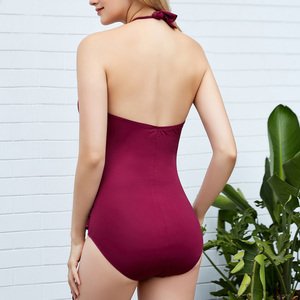 Image 2 - Riseado Sexy Plunging Swimwear 2020 Halter One Piece Swimsuits Female Hollow Out Bathing Suits Solid Bathers Ruched Beach Wear
