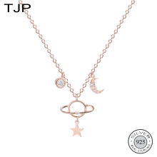TJP S925 Sterling Silver Jewelry Net Red Planet Star Moon Necklace New Fashion Collares