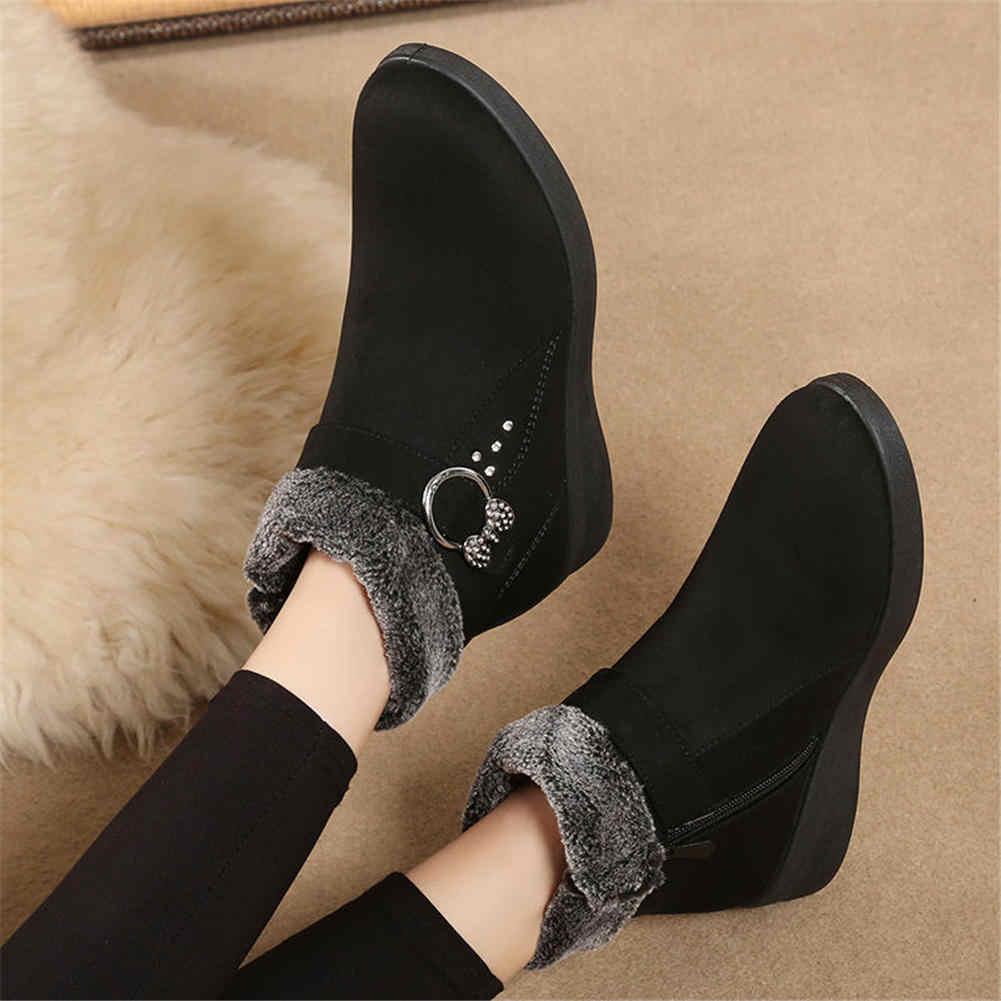 Karinluna 2019 büyük boy 41 dropship kış sıcak kar botları ayakkabı kadın zarif rahat yarım çizmeler kadın çizmeler kadın ayakkabıları