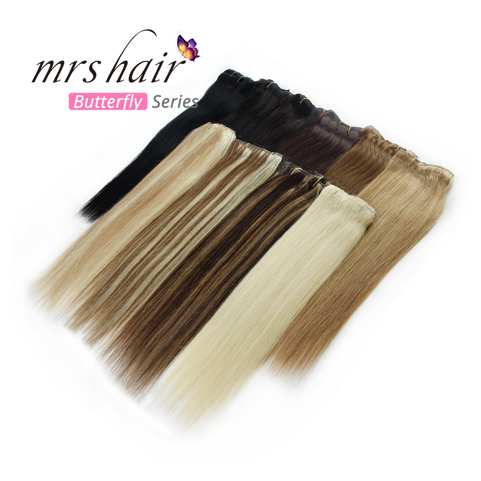 "MRS HAIR Clip In Hair Extensions 14"" 16"" 18"" 20"" 22"" 24"" Machine Remy Weft Human Hair Clips Black Brown Blonde 100% Natural Hair"
