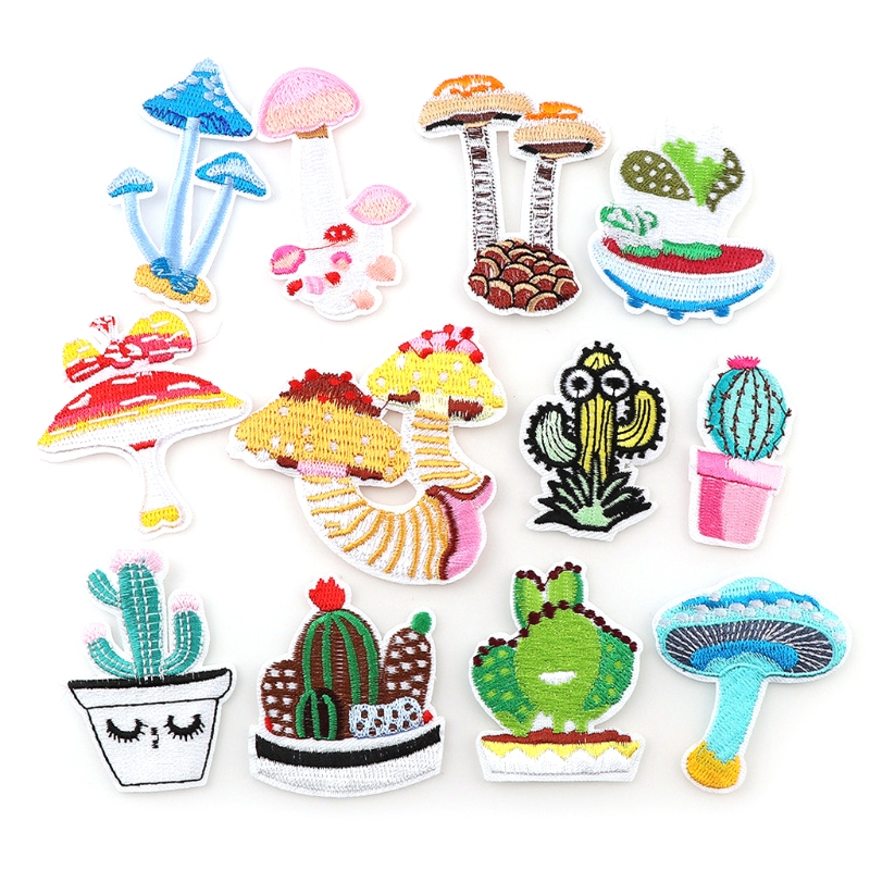 12Pcs Cactus Mushrooms Theme Embroidered Patch Iron On or Sew On Patches Appliques for Clothes Jackets Jeans Backpack Caps