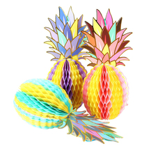 Hawaiian Party Decoration 3pcs Honeycomb Pineapple Table Centerpiece Beach Pool Luau Tropical Birthday Wedding Decor
