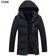 Men Long Section Slim Fit Plus Velvet Thicken Coats Jackets Lining Fleece Mans Hooded Keep Warm Zipper Leisure Cotton Clothing