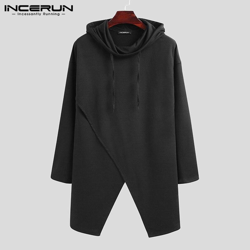 Fashion Men Sweatshirts Punk Hooded Long Sleeve 2020 Streetwear Irregu
