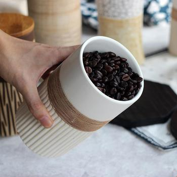 Creative Ceramic Coffee Bean Jar Handmade Storage Bottle Sealed Coffee Bottle Kitchen Jar Sugar Dried Fruit Cereal Storage Tank 2