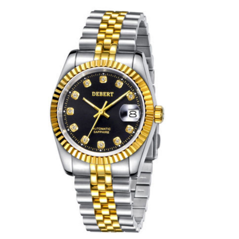 36mm debert black dial 21 jewels miyota Automatic Diamond mens wrist Watch D10