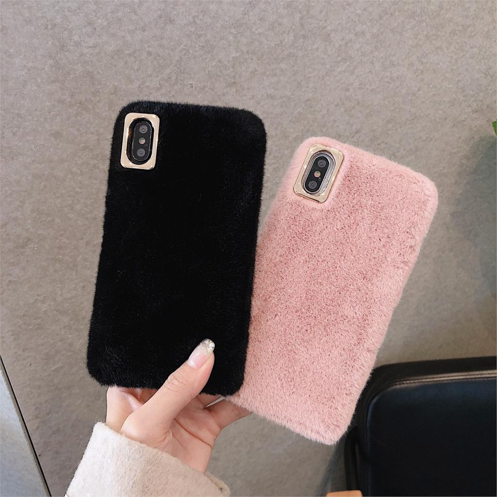 plush Furry fluffy cute candy color Phone cover for iPhone11 pro Max case colorful fluffy funda for iPhone8 6 7Plus x xr xsmax