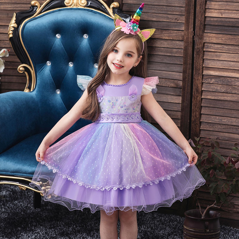 Kids Baby Girls Toddler Princess Pageant Party bowknot Flower Party gauze dress