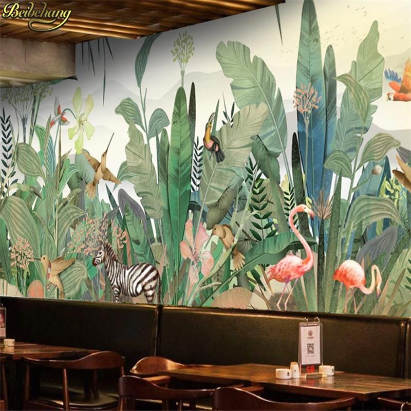 Beibehang Wall Paper Hand Painted Southeast Asian Plant Forest Flower Bird Animal Background Wall Custom 3d Wallpaper Mural
