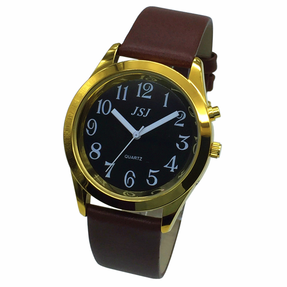 French Talking Watch With Alarm Function, Talking Date And Time, Black Dial, Brown Leather Band, Golden Case TAF-806