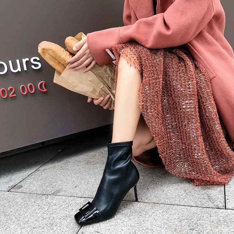 Superstar kare toe rugan yüksek topuklu kadın yarım çizmeler toka zarif elbise moda karışık renkler sıcak kış ayakkabı L06