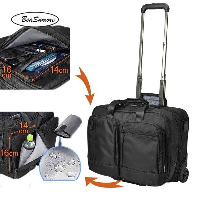 BeaSumore roulettes valise pour hommes, multifonctions, 16 pouces, pour bagages, pilote dentreprise pochette dordinateur