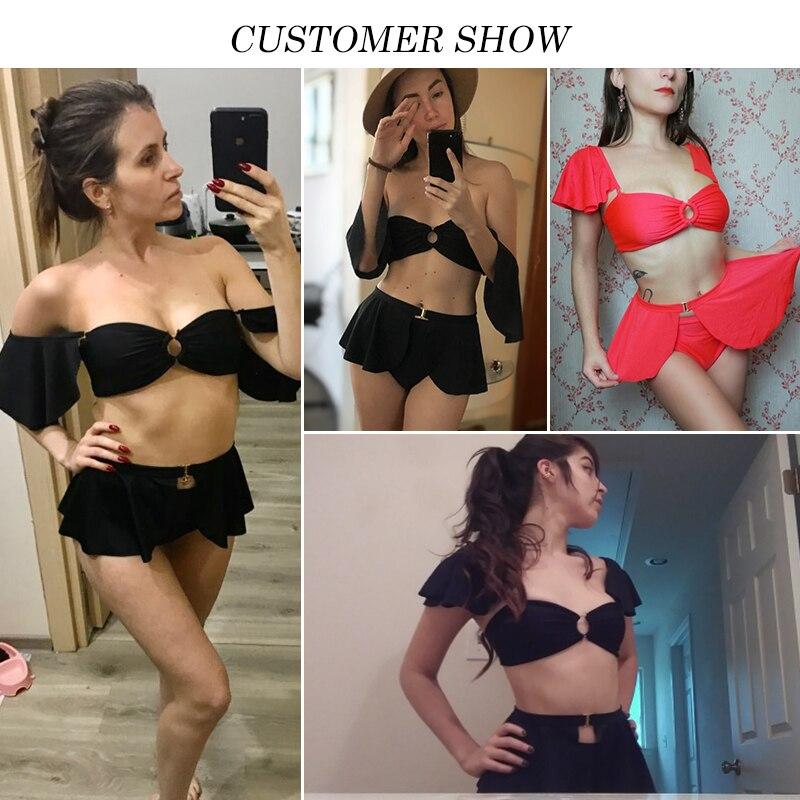 In-X Black swimsuit with skirt Sexy high waist bikini 2020 Ruffle swimsuit female swimwear women Off shoulder retro bathing suit 1