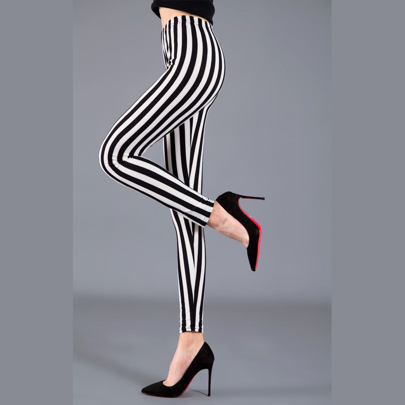 Women Plaid Leggings Fashion Printing Fitness Houndstooth Floral Stripe Dot Leopard Pure Black Trouser High Waist Pants 2