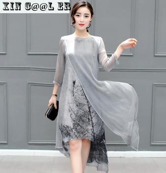 Fashion 2021 Free Shipping New Spring Summer Women Work Wear Cotton Linen Dresses Folk Art Ink Print Casual Slim Dress Retro 1