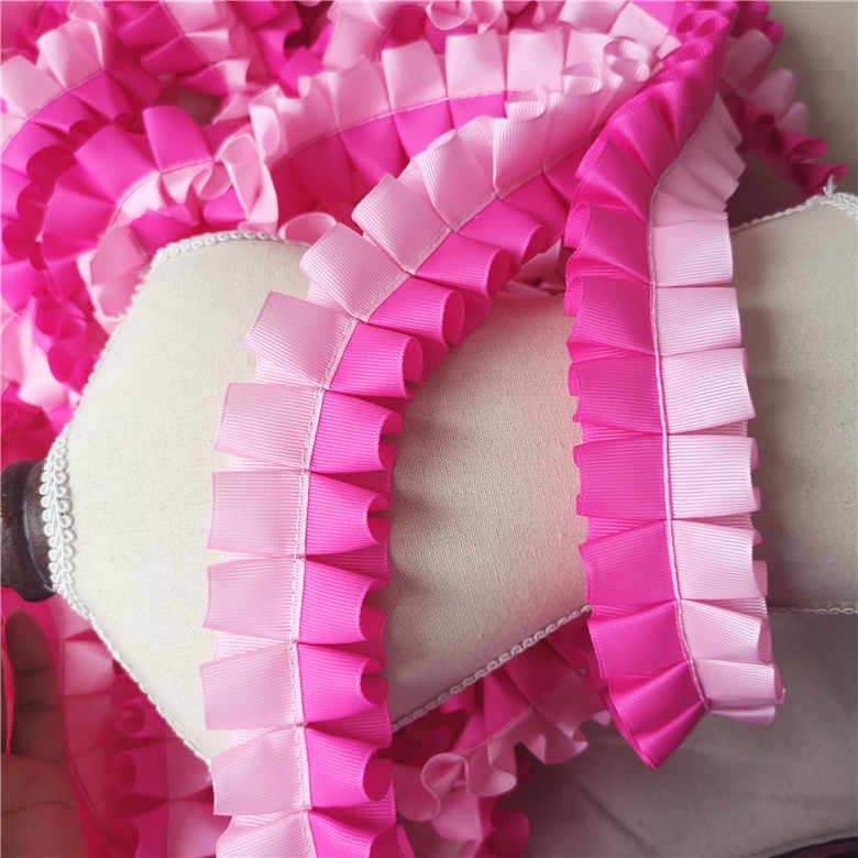 5CM Breed Mooie Koreaanse Roze Blauw 3D Kant Geplooide Satijn Chiffon Stof Lint Hals Trim Jurk Guipure Naaien decor