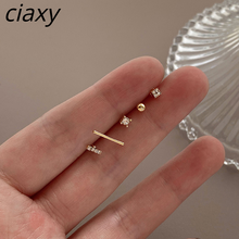 CIAXY 925 Sterling Silver Five-piece Set Stud Earrings for Women Cute Girl Inlaid Zircon Earrings Exquisite Gifts Jewelry