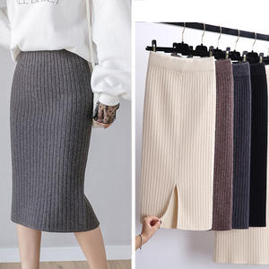 Club Skirt Spring Knitted Party Warm Sexy Black Elegant Long Autumn High-Waist Women Office