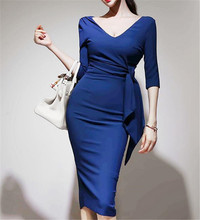 Elegant blue women dress Autumn Winter 2019 bodycon V-neck Half sleeve pencil oversize fashion sexy elegant party