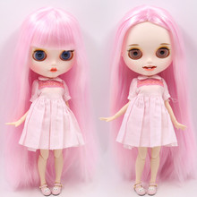 氷ヌードブライス人形番号BL1017ピンク毛彫り唇オープン口マットカスタマイズされた顔の共同ボディ1/6 bjd