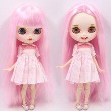 Buzlu çıplak Blyth Doll No. BL1017 pembe saç oyma dudaklar açık ağız mat özelleştirilmiş yüz ortak vücut 1/6 bjd