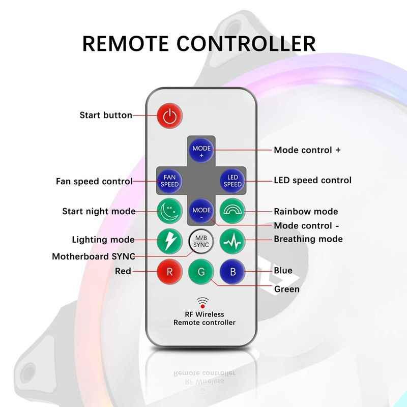Aigo الكمبيوتر هالة مزامنة حافظة الكمبيوتر مروحة مروحة مشعاع rgb ضبط led 140 مللي متر التبريد برودة مروحة كاتمة للصوت اللاسلكية تحكم عن بعد