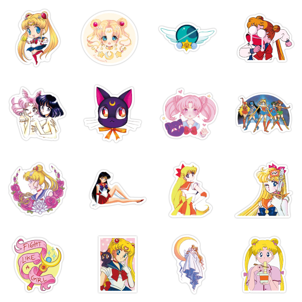 50pcs Anime Sailor Moon Sticker Water Ice Moon Stickers Motorcycle Skateboard Notebook Guitar Suitcase PVC Waterproof Stickers
