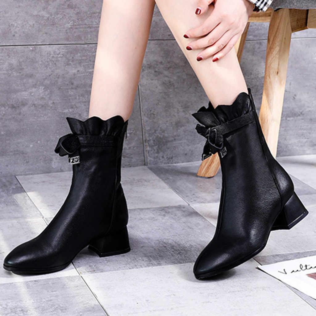 Botas de mujer cortas de felpa calientes botas de invierno botas de mariposa Nudo negro botas de mujer de punta redonda zapatos de tacón grueso corto