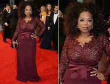 Oprah Winfrey Burgundy Long Sleeves Mother of the Bride Dresses V-Neck Sheer Lace Sheath Plus Size Celebrity Red Carpet Evening burgundy lace up front v neck long sleeves jumper