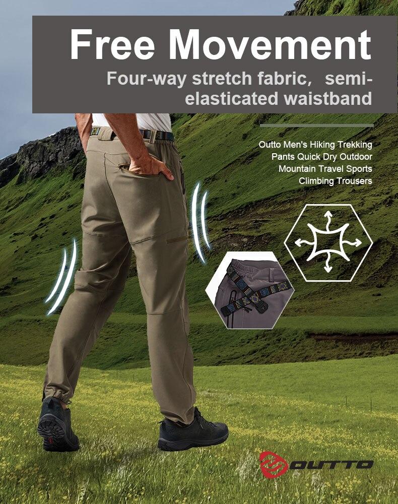 Outto masculino caminhadas calças trekking secagem rápida