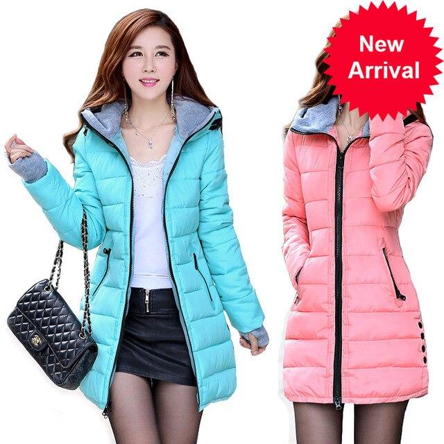 Zima 2020 damskie ciepłe kurtki z kapturem plus rozmiar bawełna w cukierkowym kolorze wyściełane kurtki kobiet długa parka kobiet watowe jaqueta