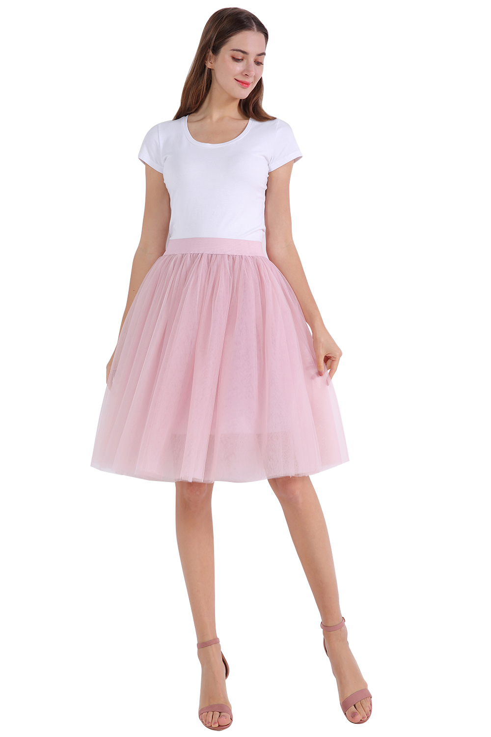 In Stock 7 Layer Petticoats Pink Blue Tulle Short Underskirt Girls Ballet Dance Dresses Petticoats Pleated Mesh Underskirt