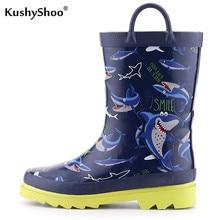 KushyShoo dziecięce kalosze 2020 nowe chłopięce wodoodporne Outdoor miękkie antypoślizgowe kalosze nadruk z rekinem dziecięce buty do wody