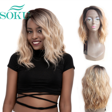 Ombre Blonde Natural Wave Short Bob Wigs Shoulder Length SOKU Synthetic Lace Fro