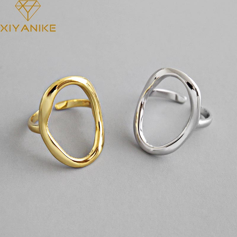 XIYANIKE 925 Sterling Silver Irregular Hollow Opening Rings For Women Couple Fashion Simple Geometric Party Jewelry Gifts
