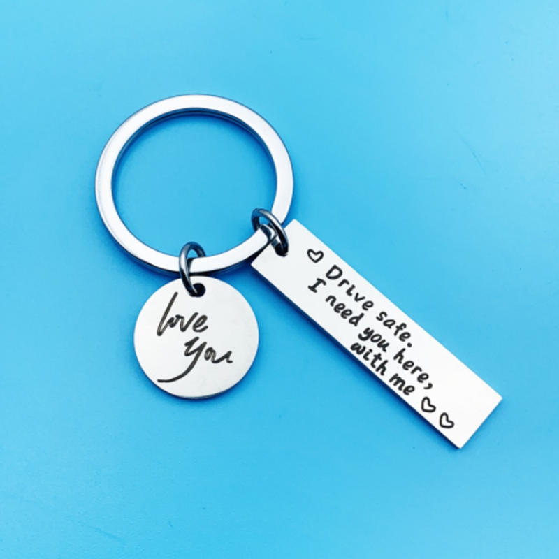 Stainless Steel Drive Safe Letter Keychain I Need You Here With Me Key Ring Car Key Chain for Lovers Couple Gifts