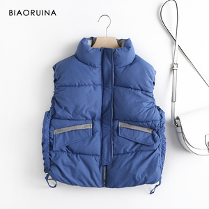 Image 5 - BIAORUINA Womens Korean Style Solid Sleeveless Winter Keep Warm Winter Vest Coat Single Women Breasted Loose Thick Fashion Vest