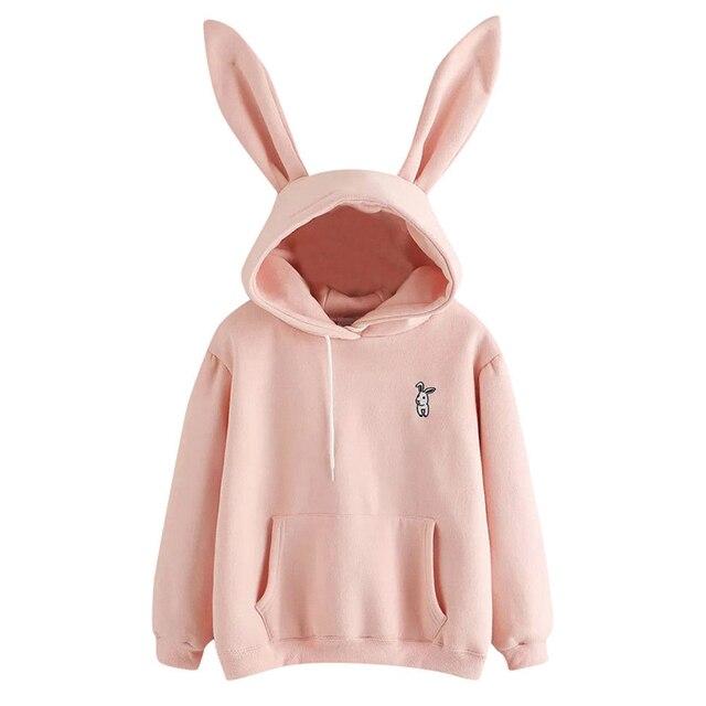 QRWR 2020 Autumn Winter Women Hoodies Kawaii Rabbit Ears Fashion Hoody Casual Solid Color Warm Sweatshirt Hoodies For Women 1