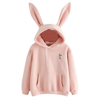 QRWR 2020 Autumn Winter Women Hoodies Kawaii Rabbit Ears Fashion Hoody Casual Solid Color Warm Sweatshirt Hoodies For Women