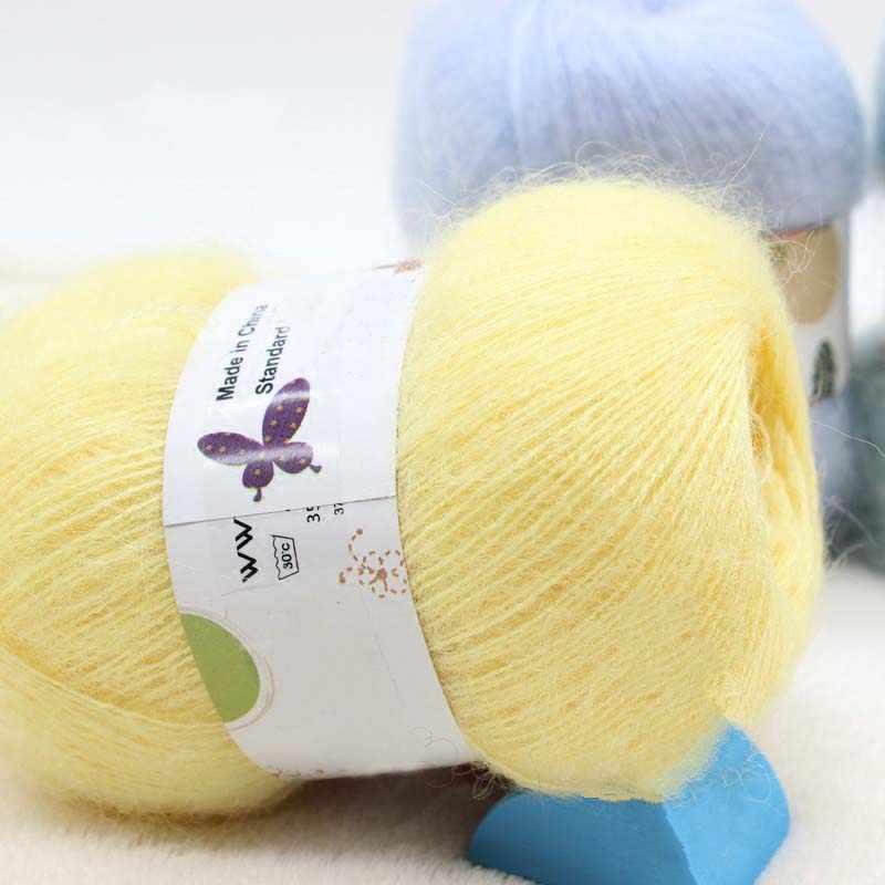 50G/Bal Beste Kwaliteit Zuivere Wol & Mohair Garen Zachte Lange Dik Thread Voor Hand Breien Sjaal Cape vest Pluizige Mohair Garen