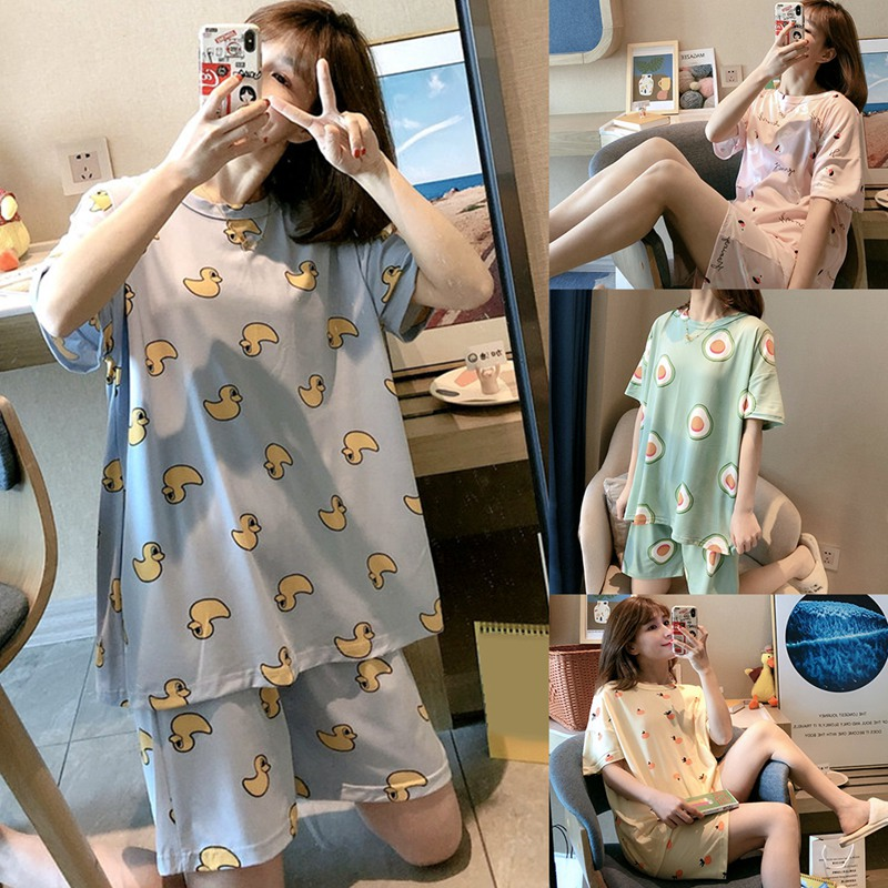Pajamas Women Summer Thin Short-sleeved Two-piece Suit Student Ins Korean Version Ladies Spring And Autumn Summer Home Servi