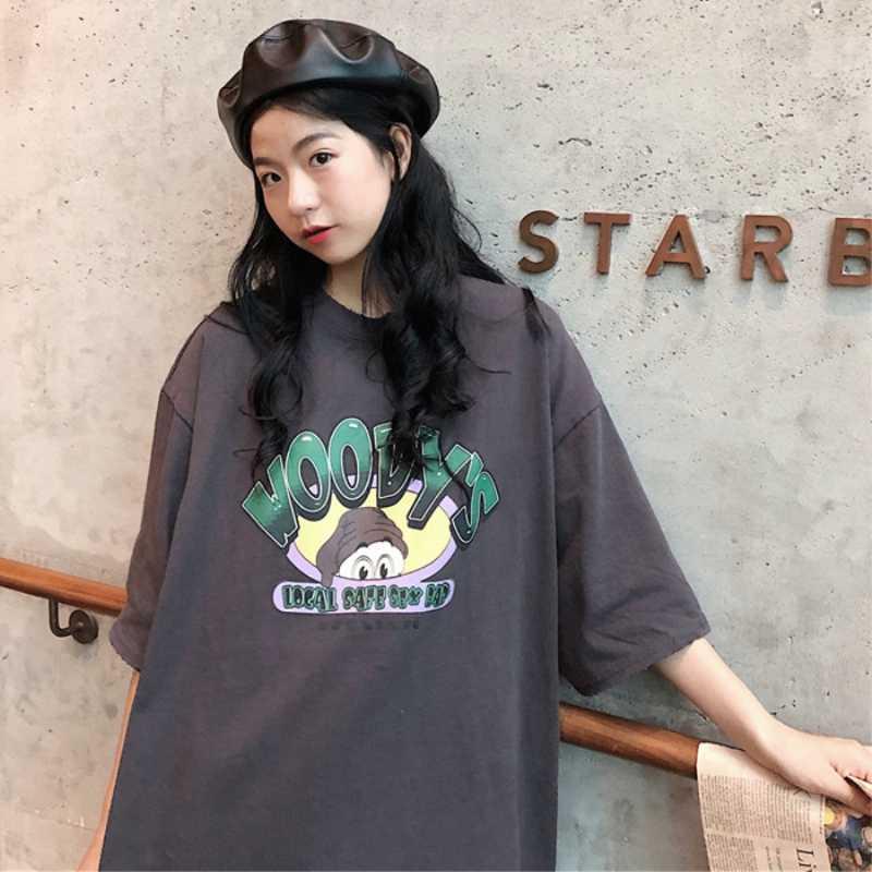 티셔츠 여성 만화 인쇄 레저 부드러운 느슨한 Streetwear 티셔츠 여성 재미 T 셔츠 여성 하라주쿠 여름 의류 걸스