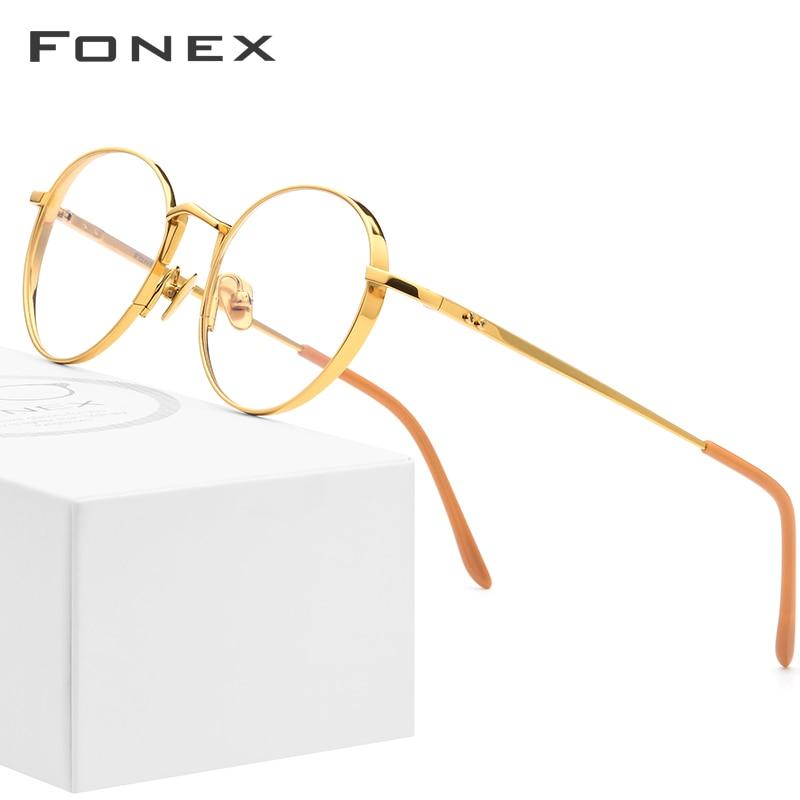 Pure Titanium Glasses Frame Men Ultralight Retro Round Myopia Optical Prescription Eyeglasses Frames Women Vintage Eyewear 879