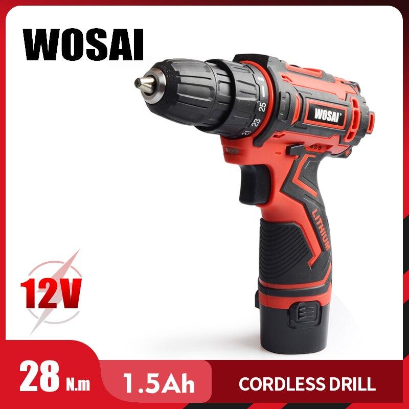WOSAI 12V Max tournevis électrique perceuse sans fil Mini pilote d'alimentation sans fil batterie Lithium-Ion cc 3/8 pouces 2 vitesses