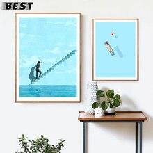 Estilo nórdico sonho arte da lona azul escada pintura cartazes e impressões flutuam soluço o sol parede fotos para sala de estar de
