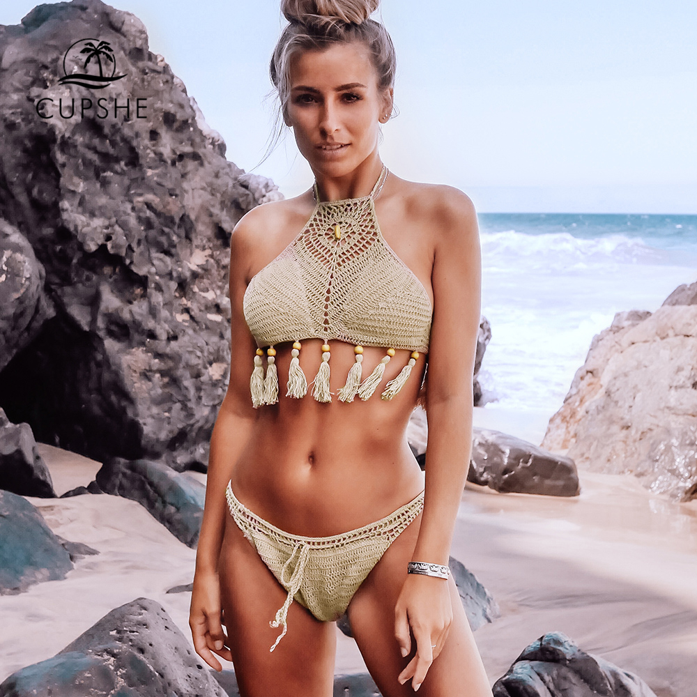 CUPSHE Crochet High-Neck Bikini Sets With Tassels Sexy Halter Lace Up Swimsuit Two Pieces Swimwear Women 2019 Beach Bathing Suit