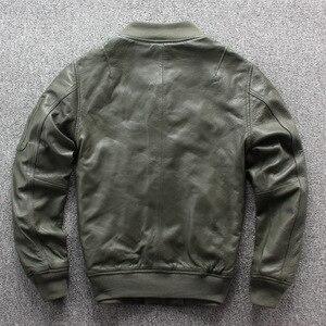 Image 2 - Frete grátis. nova marca clássico ma 1 couro jaket.goatskin flight coat, estilo japão jaquetas de couro genuíno. qualidade mais tamanho