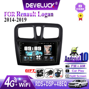 T6 Android 10 car Radio multimedia Player For Renault Logan 2 Sandero2 2014-2019 IPS 2.5D GPS Navigation 4G net RDS Split Screen image