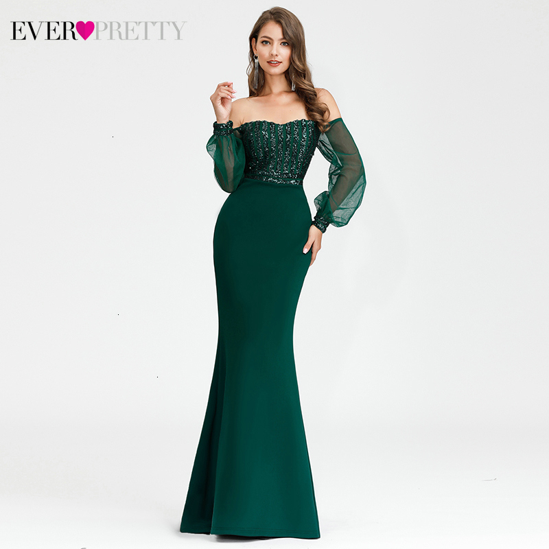 Sexy Sequined Evening Dresses Long Ever Pretty Off Shoulder Long Sleeve Striped Tulle Mermaid Party Gowns Abiye Gece Elbisesi