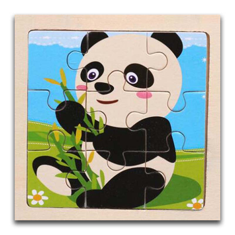 3D Paper Kids Children's Baby Early Childhood Educational Toys Cartoon Panda Wooden Small 9-Piece Jigsaw Puzzle 1-3-Year-Old